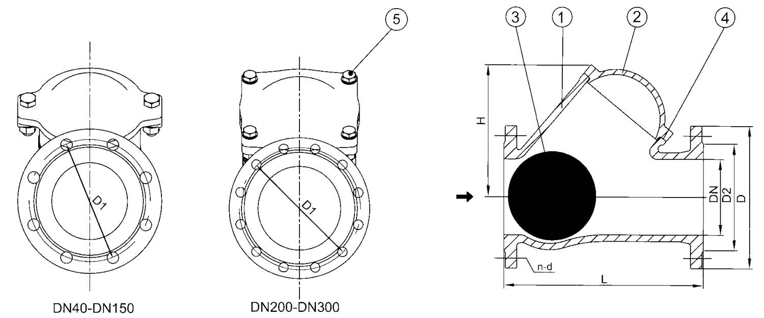 Flanged Ball Check Valve drawing