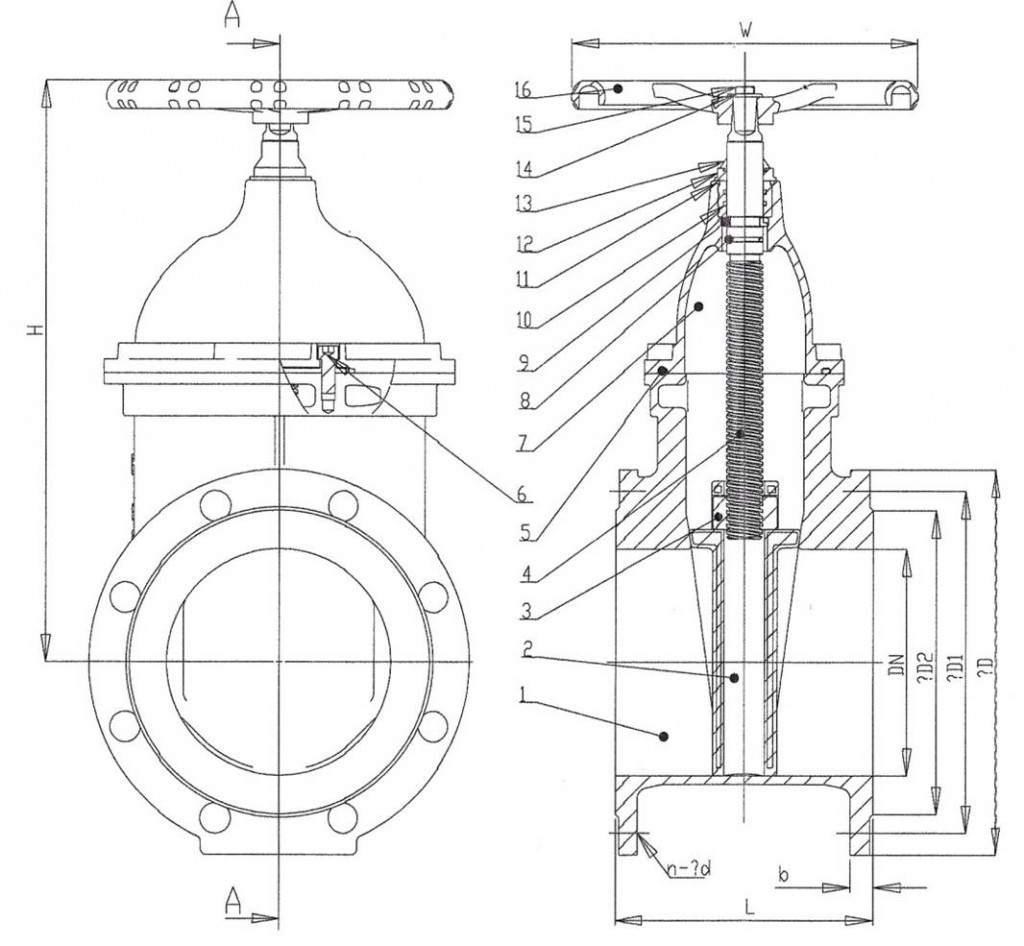 Rubber Wedge Gate Valve F4 drawing
