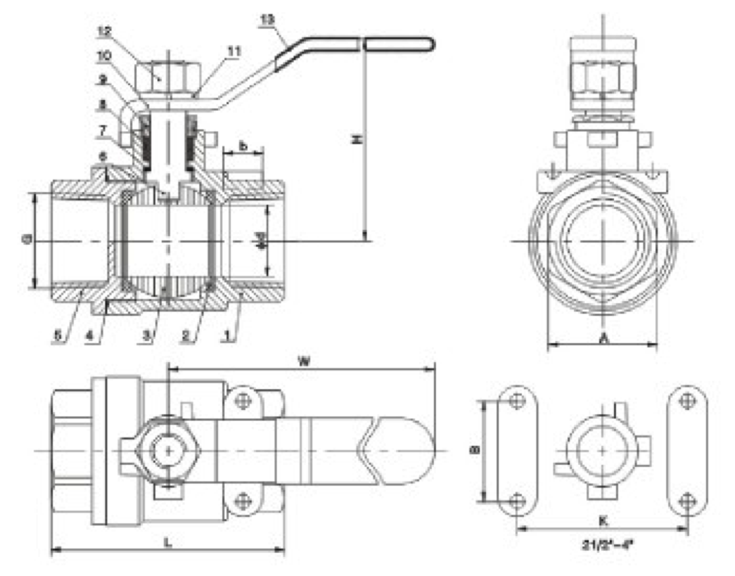 Two Piece Threaded Ball Valve drawing